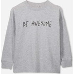 Cotton On Kids Tom Loose Fit Tシャツ /  light grey marle/be awesome