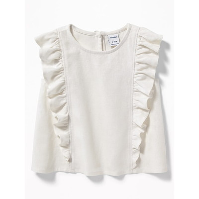 Sleeveless Ruffled Linen-Blend Top for Baby