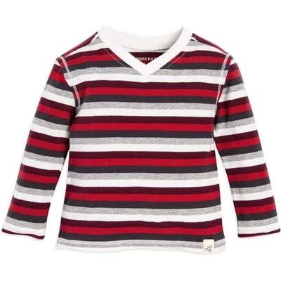 Boys Stripe High V Organic Baby Tシャツ