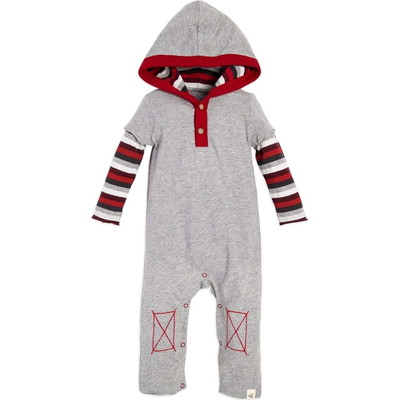Multi Stripe Hooded Organic Baby Boysロンパース