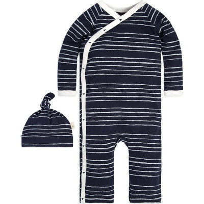 Lullaby Stripe Kimono Organic Baby Cottonロンパース