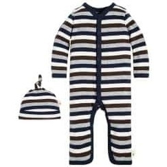 Multi Stripe Organic Baby Cottonロンパース