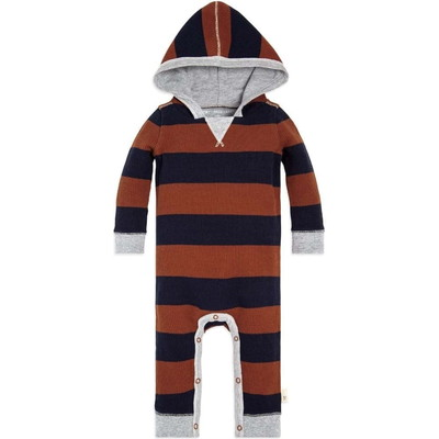 Thermal Rugby Stripe Organic Babyロンパース