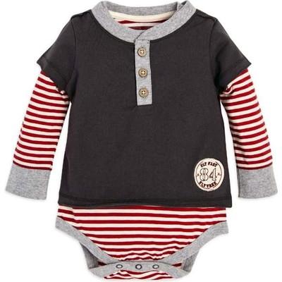Candy Cane Stripe 2Fer Organic Baby Boysボディースーツ