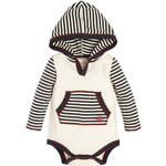 burts bees baby/バーツビーズベイビー Candy Cane Stripe Hooded Baby Boys Organicボディースーツ
