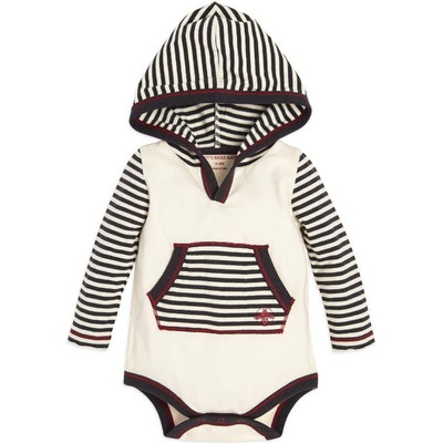 Candy Cane Stripe Hooded Baby Boys Organicボディースーツ