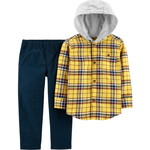 carter's / カーターズ 2-Piece Button-Front Flannel Hooded Top & Canvas Pant Set
