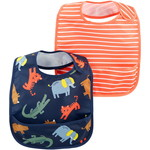 carter's / カーターズ 2-Pack Stripes & Zoo Animals Water Resistant ビブ