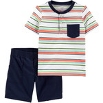 carter's / カーターズ 2-Piece Striped Henley ティ & Short セット