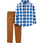 carter's / カーターズ 2-Piece Checkered Button-Front Top & Canvas Pant Set