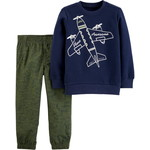 carter's / カーターズ 2-Piece Airplane Fleece Top & Poplin Pant Set