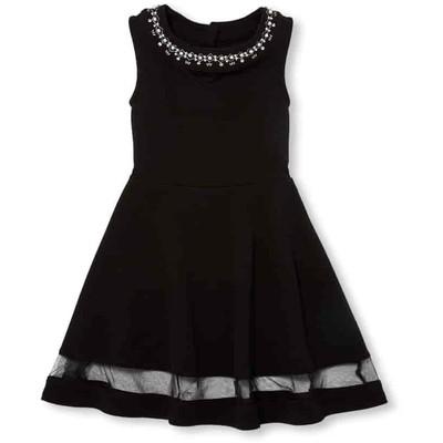 スリーブレス Jewel ネック ニット ドレス / ブラック
