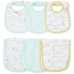 THE CHILDREN'S PLACE/チルドレンズプレイス Unisex Baby Doodle Animals Bib And Burp Cloth 6-ピース セット