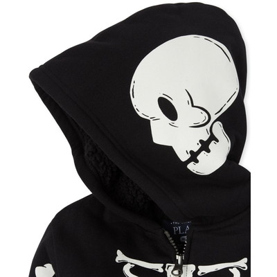 THE CHILDREN'S PLACE/チルドレンズプレイス Unisex Baby And Toddler Matching Family Halloween Glow Skeleton Sherpa Zip Up フード