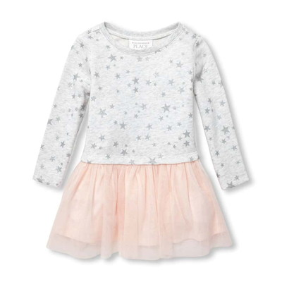 Baby And Toddler Girls Long Sleeve Glitter Star Print Knit-To-Woven Dress