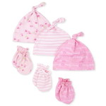 THE CHILDREN'S PLACE/チルドレンズプレイス Rose Knotted Hat And Mittens 6ピースセット