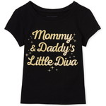 THE CHILDREN'S PLACE/チルドレンズプレイス Toddler Girls Glitter Mommy And Daddy グラフィックTシャツ