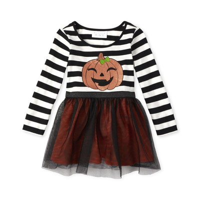 THE CHILDREN'S PLACE/チルドレンズプレイス Halloween Glitter Pumpkin Knit To Woven ドレス
