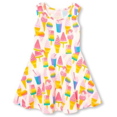 スリーブレスアイスクリームプリントニットドレス