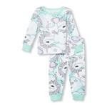 Baby And Toddler Girls Long Sleeve Unicorn Print Top And Pants Snug-Fit PJ Set