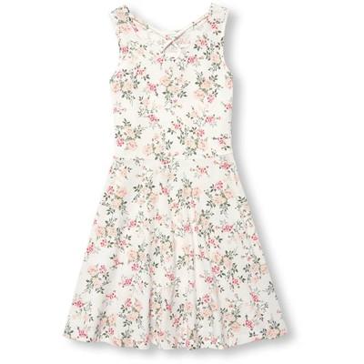 【即日発送可能】ガールズ スリーブレス カットアウト フローラル ニット ドレス