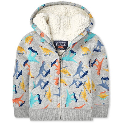 THE CHILDREN'S PLACE/チルドレンズプレイス Print Sherpa Zip Up フード
