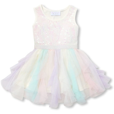 THE CHILDREN'S PLACE/チルドレンズプレイス Baby  Toddler Girls Sleeveless Sequin Knit-To-Woven ドレス