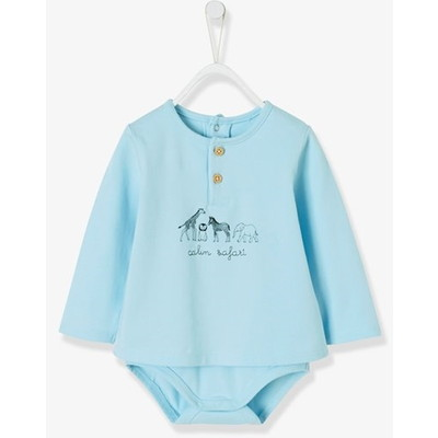 Vertbaudet/ヴェルボデ T-Shirt-Bodysuit for Newborn Babies, Animal Motifs