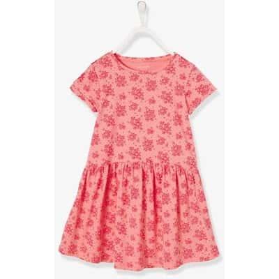 ガールズ' ショートスリーブ ドレス - ピンク ダーク オールオーバー プリント / ピンク ダーク ALL OVER プリント