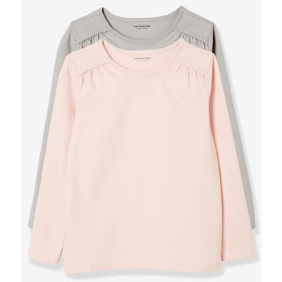 Girls' Pack of 2 Plain Long-Sleeved Tシャツ