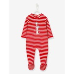 Vertbaudet/ヴェルボデ Striped & Printed Christmas Special Sleepsuit, for Baby Girls