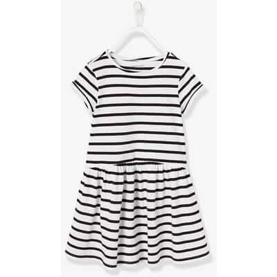 ガールズ' ショートスリーブ ドレス - ホワイト ライト ストライプ / ホワイト ライト ストライプ