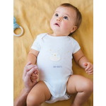 Vertbaudet/ヴェルボデ 半袖 ボディースーツ for babies in pure cotton - white light solid design