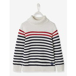 Vertbaudet/ヴェルボデ Striped Roll Neck ジャンパー, - white light striped