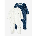 Vertbaudet/ヴェルボデ Pack of 2 Velour Sleepsuits for Babies, Press-Studs on the Front