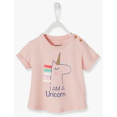 Vertbaudet/ヴェルボデ t-シャツ rainbow or unicorn motif and 3d details, s - pink light solid design