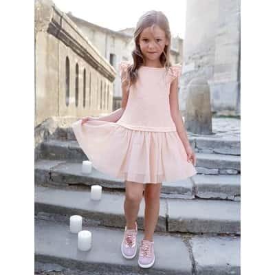 ガールズ' dual ファブリック 2-イン-1 ドレス - ピンク ライト ソリッド / ピンク ライト SOLID