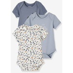Pack of 3 Progressive Bodysuits in Stretch Cotton, Short Sleeves - ブルー