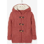 Vertbaudet/ヴェルボデ Long Cardigan with Hood & Sherpa Lining  - pink