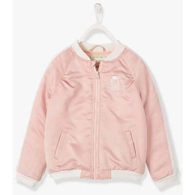 ボンバー ジャケット in エンブロイダード satin  - pink ライト ソリッド