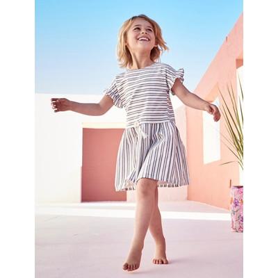 ショートスリーブd ドレス - ホワイト ライト ストライプ