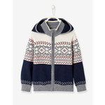 Vertbaudet/ヴェルボデ Hooded カーディガン with Jacquard Motif - blue dark two color/multicol