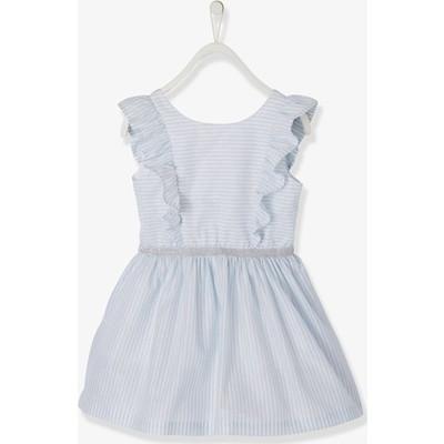 ドレス with Frills & Iirdescent ストライプ, - ホワイト ライト ストライプ