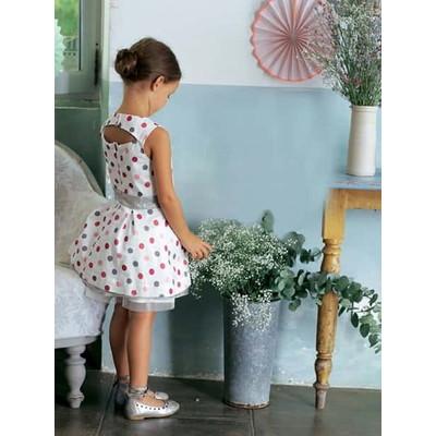 Girls Sleeveless Short Dress - printed white