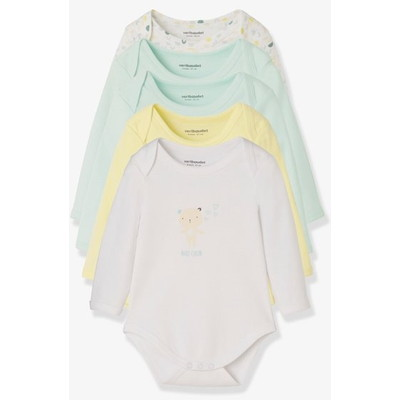 Vertbaudet/ヴェルボデ Pack of 5 Long-Sleeved Bodysuits for Babies in Pure Cotton, Little Paradise