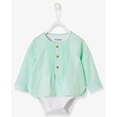 Vertbaudet/ヴェルボデ Fancy Striped Shirt-Bodysuit for Baby Boys