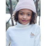 Vertbaudet/ヴェルボデ Polo-Neck Jumper with Glittery Fox Badge for Girls - ホワイト