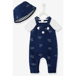 Vertbaudet/ヴェルボデ Newborn Baby Ensemble, Hat, Bodysuit and Dungarees