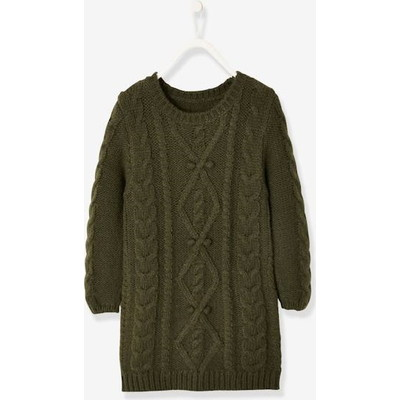 Vertbaudet/ヴェルボデ Cable Knit Sweater Dress - green